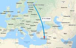 Время перелета из Санкт-Петербурга до Ларнаки (Кипр)